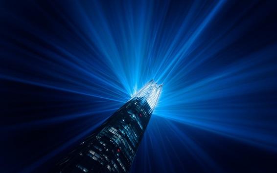 Papéis de Parede Londres, Inglaterra, arranha-céu, construção, feixes de luz, iluminação, noite