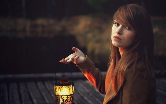 Wallpaper Long hair girl, lantern, dusk