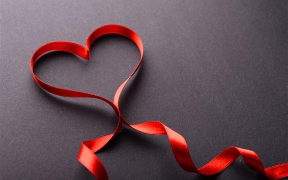 Wallpaper Love heart, red ribbon