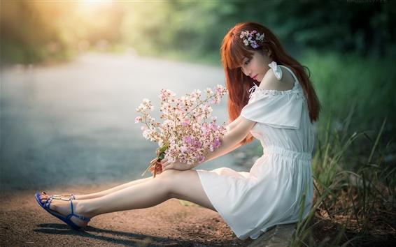 Wallpaper Lovely Asian girl, sit at lakeside, legs, flowers