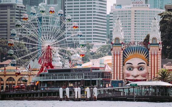 Wallpaper Luna Park, ferris wheel, city, Sydney, Australia