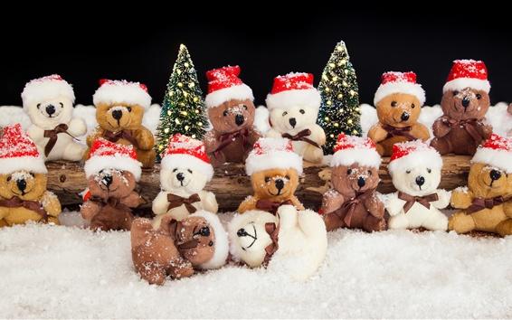배경 화면 많은 곰 장난감, 눈, 겨울