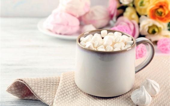 Wallpaper Marshmallows, cup, flowers