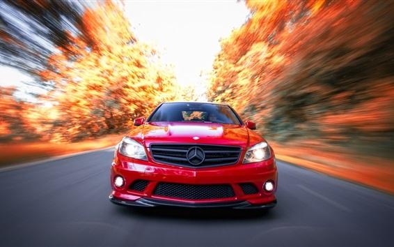 Fond d'écran Mercedes-Benz C63 AMG voiture rouge avant vue, vitesse