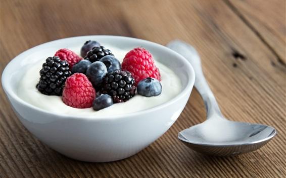 Wallpaper Milk, berries, spoon