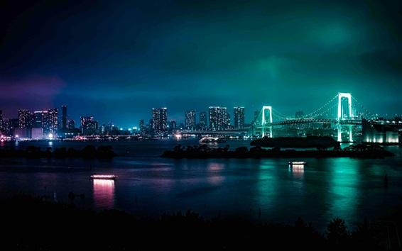 Papéis de Parede Minato, Japão, noite da cidade, ponte, rio, arranha-céus, luzes