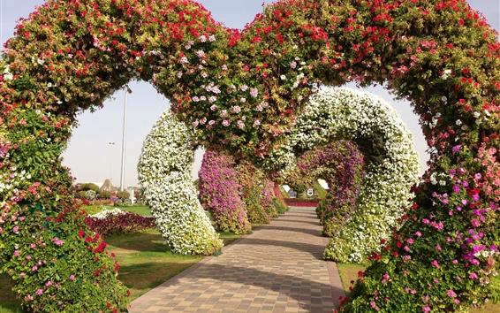 Wallpaper Miracle Garden, geranium, petunia, arch, path, Singapore