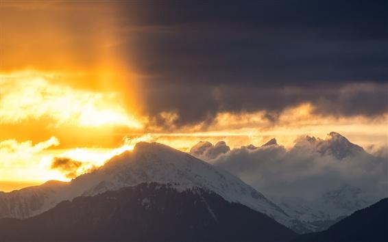 Wallpaper Mountain, cloud, sunrise, snow