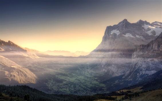 Обои Горы, рассвет, туман
