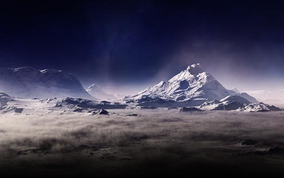 Wallpaper Mountains, fog, haze, dust, darkness