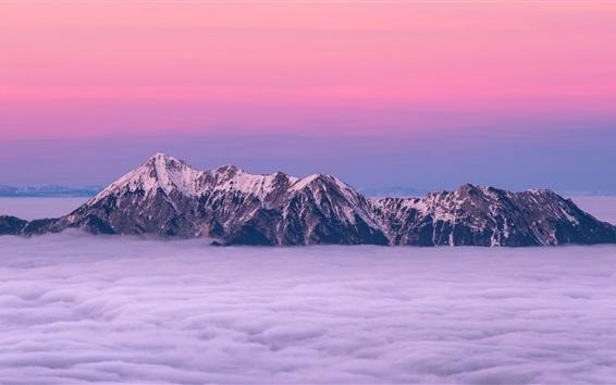 Обои Горы, пики, снег, туман, сумерки