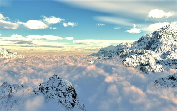 Wallpaper Mountains, snow, fog, clouds, sky, nature landscape