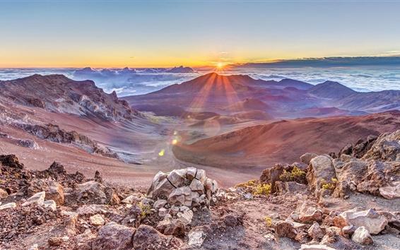 Hintergrundbilder Berge, Sonnenaufgang, Wolken, Felsen, Nebel, Dämmerung
