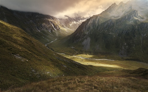 Wallpaper Mountains, valley, river, nature landscape