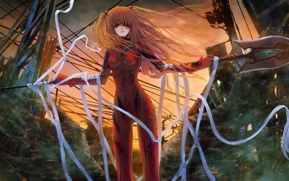 Wallpaper Neon Genesis Evangelion, art picture, girl, hair flying
