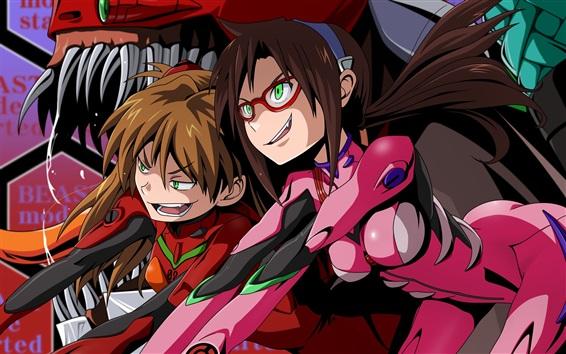Hintergrundbilder Neon Genesis Evangelion, zwei Mädchen