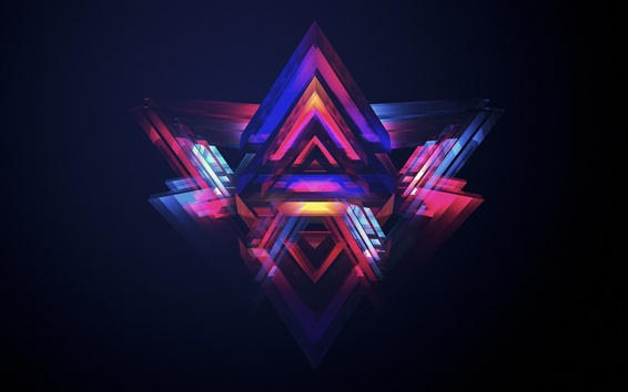 Wallpaper Neon pyramids, colorful light
