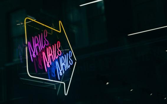 Wallpaper Neon signboard arrow, night