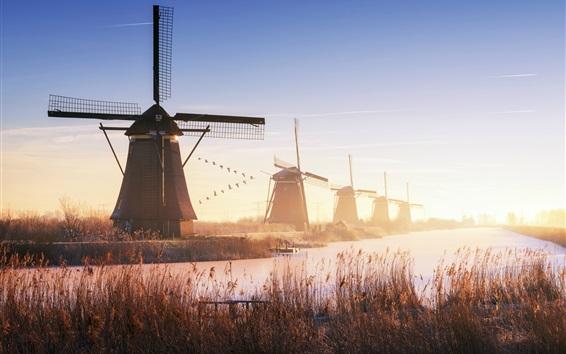 Papéis de Parede Holanda, moinhos de vento, rio