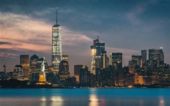 Wallpaper New York, Statue of Liberty, skyscrapers, cityscape, sea, night, lights