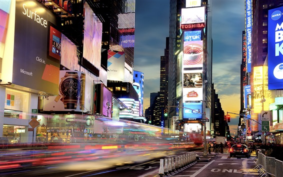 Wallpaper New York, Times Square at night, lights