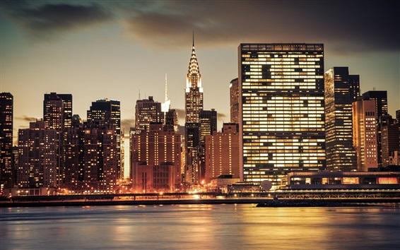 Wallpaper New York city night, skyscrapers, lights, river, USA