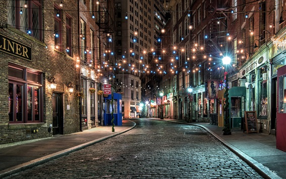 Wallpaper New York, old town, street, colorful lights, night, USA
