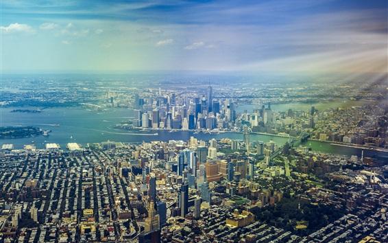Wallpaper New York, skyscrapers, panorama, top view