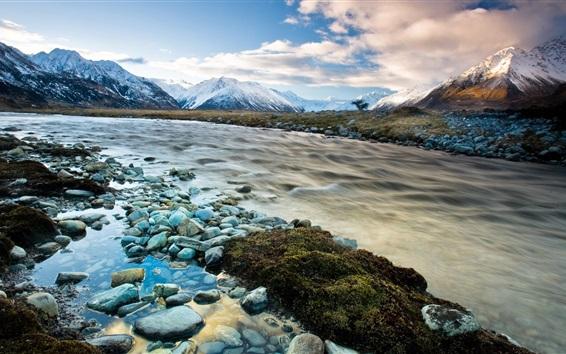 Fond d'écran Nouvelle-Zélande, rivière, montagne, neige, hiver