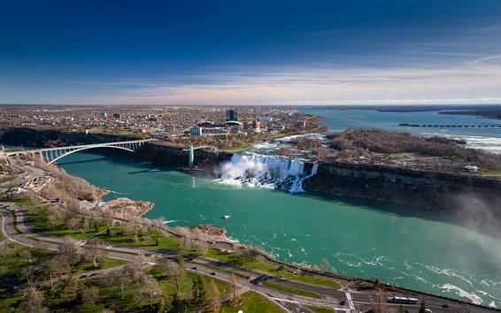 Fond d'écran Niagara Falls, Canada, Ontario, pont, rivière, ville