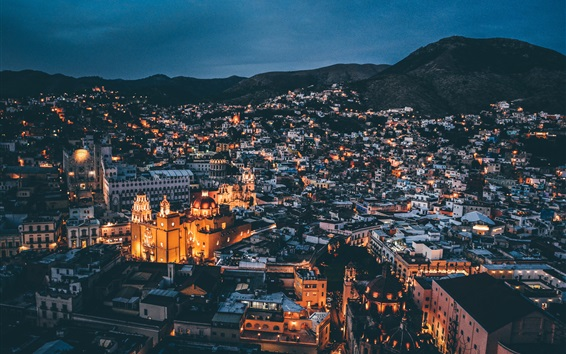 Wallpaper Night, city, houses, buildings, lights, mountains