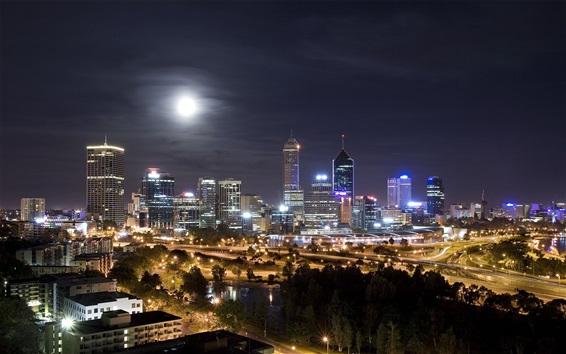 Wallpaper Night cityscape, skyscrapers, lights