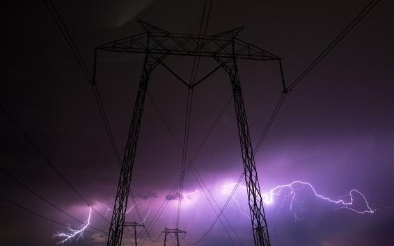 Fondos de pantalla Noche, líneas eléctricas, tormenta, relámpago