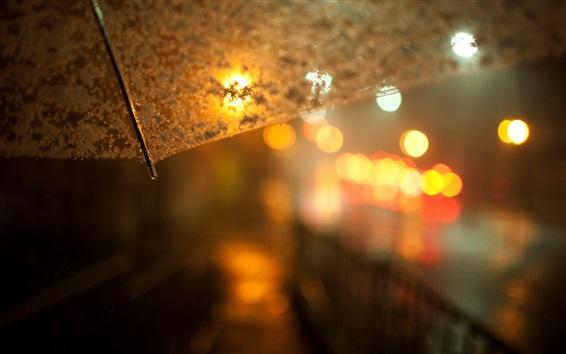 Wallpaper Night, umbrella, lights, glare