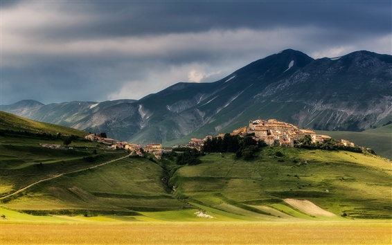 Wallpaper Norcia, Italy, town, mountain, grass, clouds, dusk