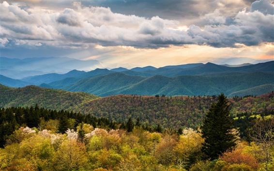 Wallpaper North Carolina, hills, mountains, clouds, nature landscape