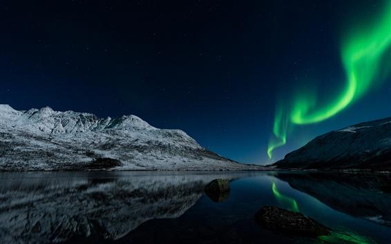 Fond d'écran Lumières du Nord, Norvège, nuit, lac, étoiles, montagnes