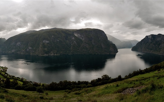 Wallpaper Norway, Aurlandsfjord, river, clouds, mountains