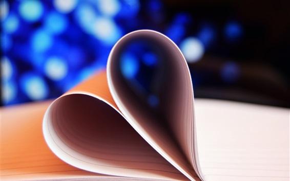 Wallpaper Notebook, love heart, bokeh