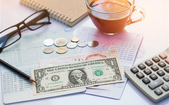 Fondos de pantalla Un dólar, vasos, monedas, té