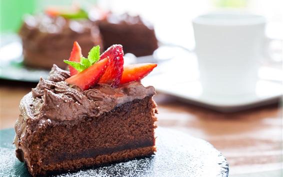 Papéis de Parede Um pedaço de bolo de chocolate, sobremesa