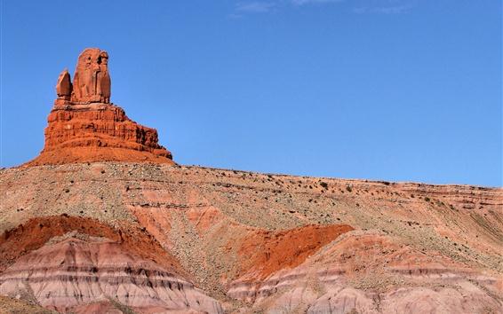 Обои Сова-рок, Долина монументов, пустыня, Юта, США
