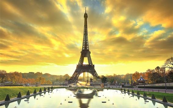 Wallpaper Paris, Eiffel tower, city, water, autumn, sunrise