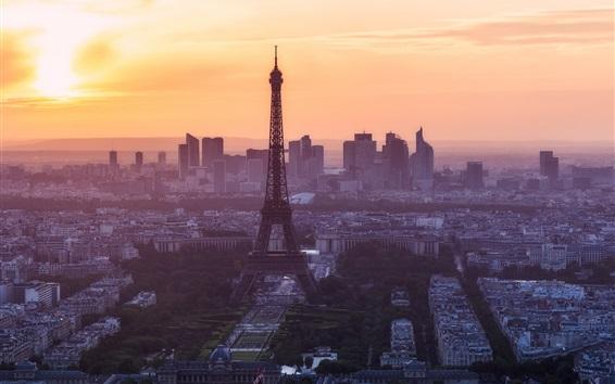 Fond d'écran Paris le matin, Tour Eiffel, France
