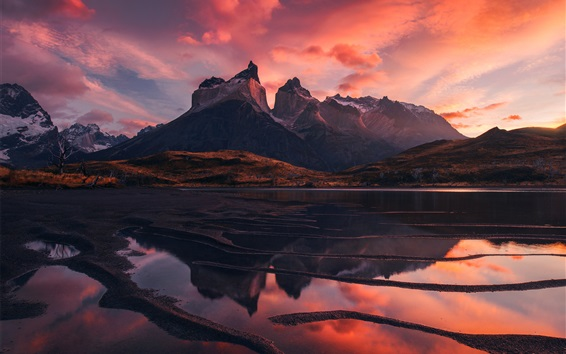 Papéis de Parede Patagônia, paisagem natural, lago, montanhas, céu vermelho, nuvens