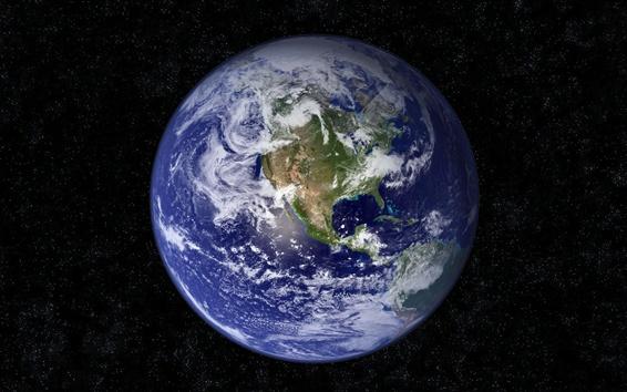 Fond d'écran La planète Terre, les nuages, les continents, l'univers