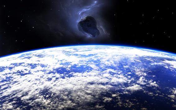 Wallpaper Planet, earth, meteorite, space