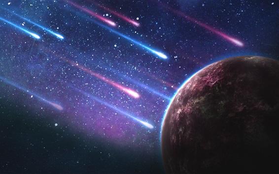 Fond d'écran Planète, pluie de météorites, galaxie, étoilé
