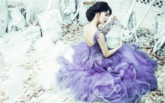 Wallpaper Purple skirt Asian girl, birdcage