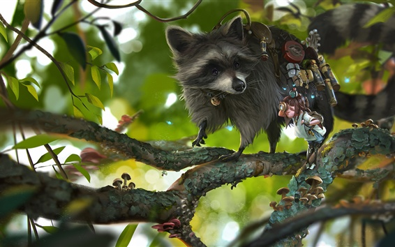 Wallpaper Raccoon and child, tree, art drawing